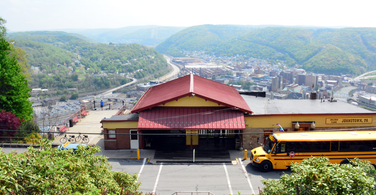 Overhead view of the Incline Plane and downtown Johnstown from the top of the stairs