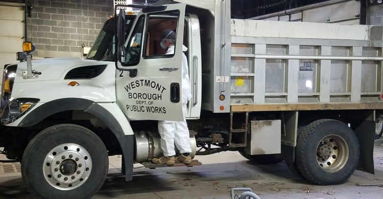 Cleaning the Department of Public Work's work truck