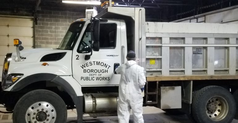 cleaning the department of public works work truck